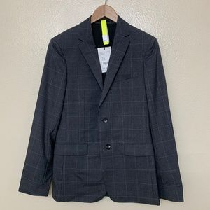 Theory Wellar Jacket Suit Charcoal Grid H1171133